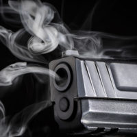 Gun with smoke coming out