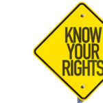 the yellow sign that reads know your rights