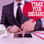 Handwriting text writing Time For Insurance. Concept meaning receives Financial Protection Reimbursement against Loss Male human wear formal clothes present presentation use hi tech smartphone.